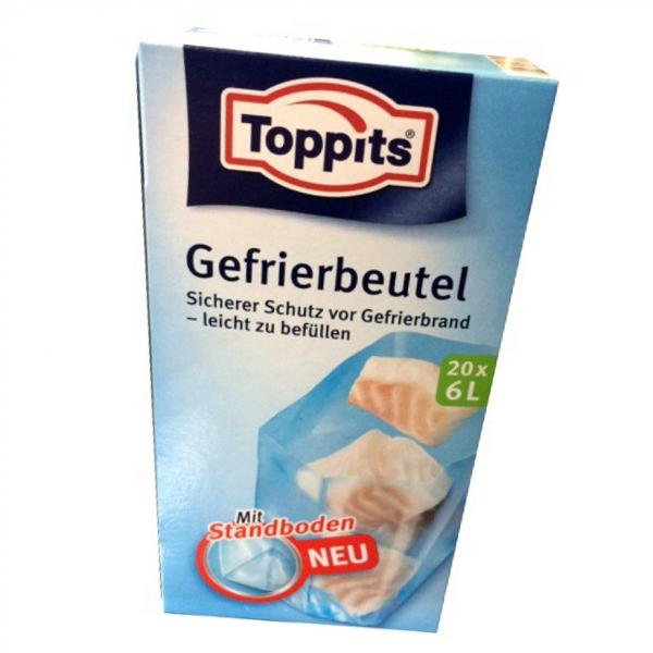 Toppits® Gefrierbeutel Standboden 6 Liter 20 Stück