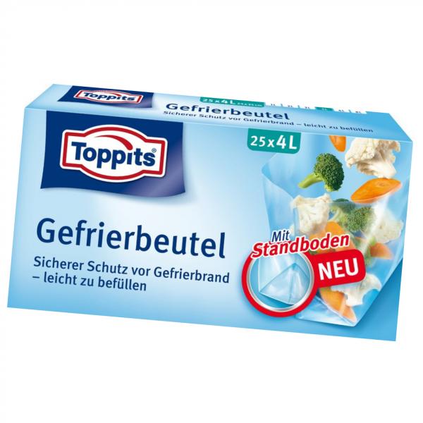 Toppits® Gefrierbeutel Standboden 4L 25 Stück
