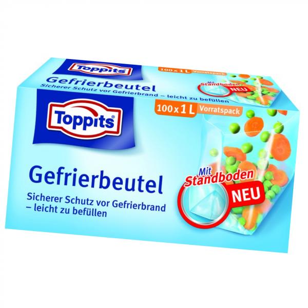 Toppits® Gefrierbeutel Standboden 1L 100 Stück