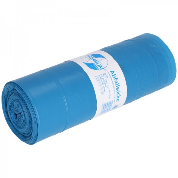 DEISS Premium Zugbandsack, blau, 120 Liter,Typ 60, 34 my, Rolle 25er