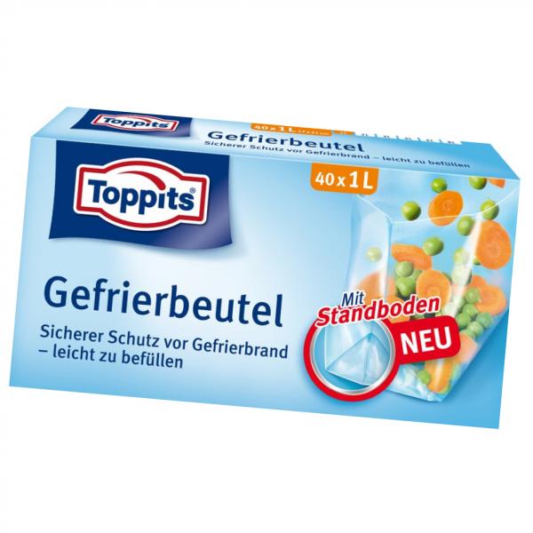 Toppits® Gefrierbeutel Standboden 1L 40 Stück