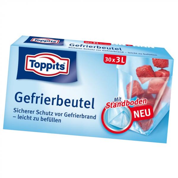 Toppits® Gefrierbeutel Standboden 3L 30 Stück