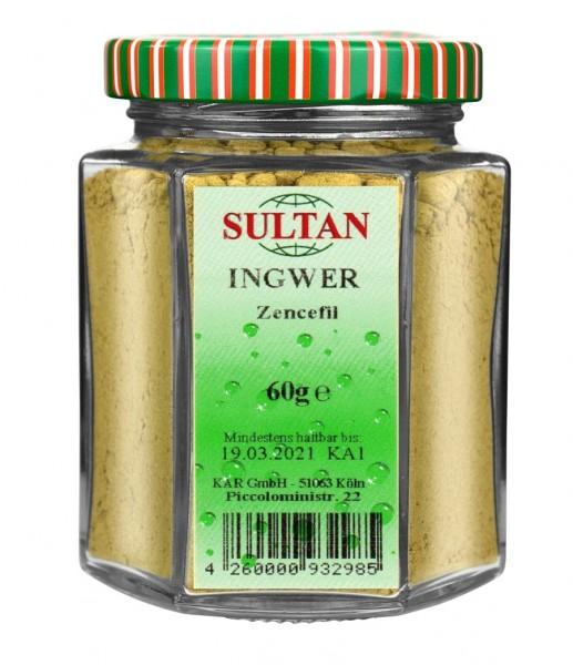 Sultan Ingwer gemahlen Glas 60g
