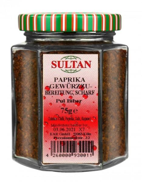 Sultan Pulbiber scharf Glas 75g (Chiliflocken)