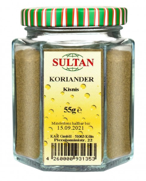 Sultan Koriander, gemahlen Glas 55g