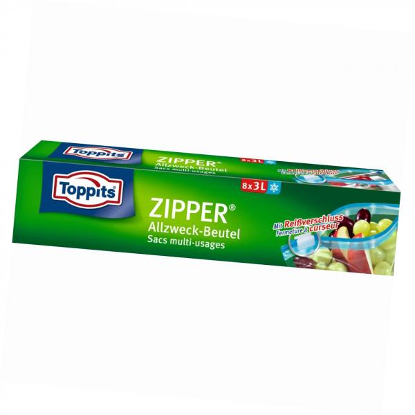 Toppits Zipper ® mit Standboden 3L 8 Stück