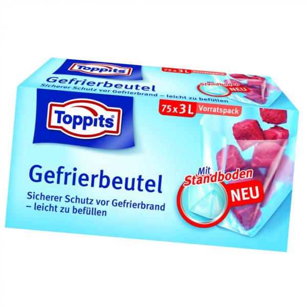 Toppits® Gefrierbeutel Standboden 3l 75 Stück