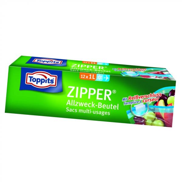 Toppits Zipper ® mit Standboden – Beutel 1L 12 Stück