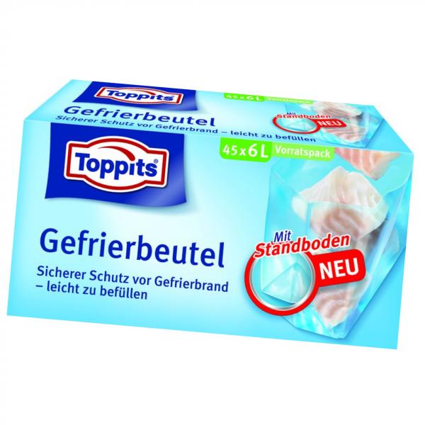 Toppits® Gefrierbeutel Standboden 6L 45 Stück