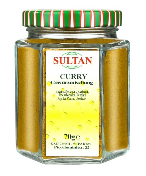 Sultan Curry gemahlen Glas 70g